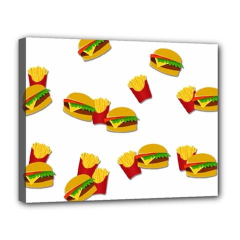 Hamburgers and french fries  Canvas 14  x 11
