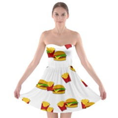 Hamburgers and french fries  Strapless Bra Top Dress