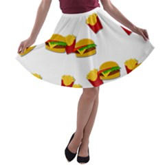 Hamburgers and french fries  A-line Skater Skirt