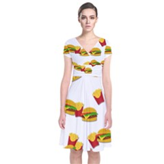 Hamburgers and french fries  Short Sleeve Front Wrap Dress