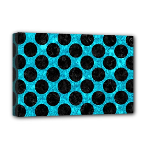 Circles2 Black Marble & Turquoise Marble (r) Deluxe Canvas 18  X 12  (stretched)
