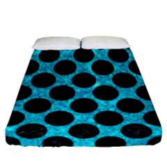 Circles2 Black Marble & Turquoise Marble (r) Fitted Sheet (queen Size)