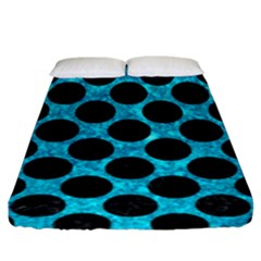 Circles2 Black Marble & Turquoise Marble (r) Fitted Sheet (king Size)