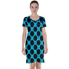 Circles2 Black Marble & Turquoise Marble (r) Short Sleeve Nightdress