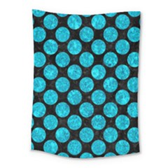 Circles2 Black Marble & Turquoise Marble Medium Tapestry