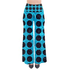 Circles1 Black Marble & Turquoise Marble (r) So Vintage Palazzo Pants