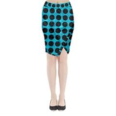 CIR1 BK-TQ MARBLE (R) Midi Wrap Pencil Skirt