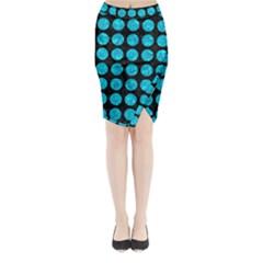 CIR1 BK-TQ MARBLE Midi Wrap Pencil Skirt