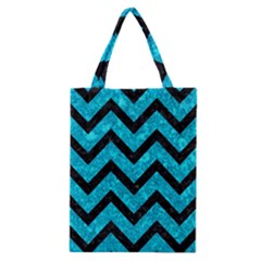 Chevron9 Black Marble & Turquoise Marble (r) Classic Tote Bag