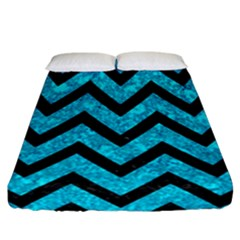 Chevron9 Black Marble & Turquoise Marble (r) Fitted Sheet (california King Size)
