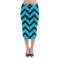 Chevron9 Black Marble & Turquoise Marble (r) Midi Pencil Skirt