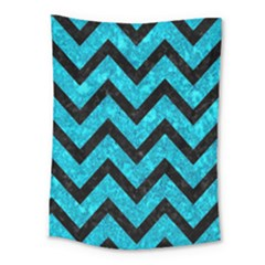 Chevron9 Black Marble & Turquoise Marble (r) Medium Tapestry