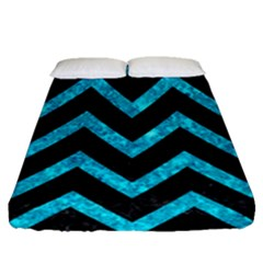 Chevron9 Black Marble & Turquoise Marble Fitted Sheet (queen Size)