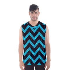 Chevron9 Black Marble & Turquoise Marble Men s Basketball Tank Top