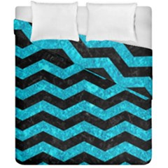 Chevron3 Black Marble & Turquoise Marble Duvet Cover Double Side (california King Size)