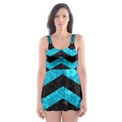 CHV3 BK-TQ MARBLE Skater Dress Swimsuit