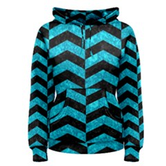 Chevron2 Black Marble & Turquoise Marble Women s Pullover Hoodie