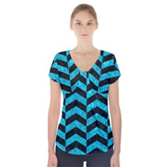 CHV2 BK-TQ MARBLE Short Sleeve Front Detail Top