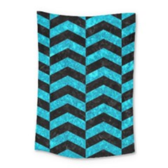 Chevron2 Black Marble & Turquoise Marble Small Tapestry