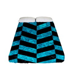 Chevron1 Black Marble & Turquoise Marble Fitted Sheet (full/ Double Size)
