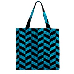 Chevron1 Black Marble & Turquoise Marble Zipper Grocery Tote Bag