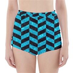 CHV1 BK-TQ MARBLE High-Waisted Bikini Bottoms