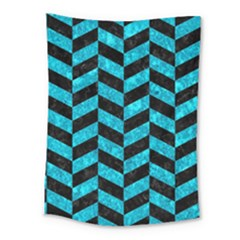 Chevron1 Black Marble & Turquoise Marble Medium Tapestry