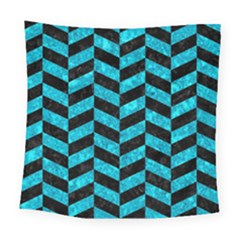 Chevron1 Black Marble & Turquoise Marble Square Tapestry (large)