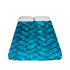 Brick2 Black Marble & Turquoise Marble (r) Fitted Sheet (full/ Double Size)