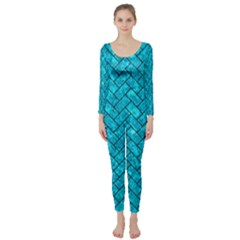 Brick2 Black Marble & Turquoise Marble (r) Long Sleeve Catsuit