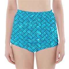 BRK2 BK-TQ MARBLE (R) High-Waisted Bikini Bottoms