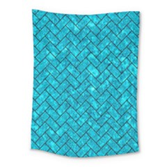 Brick2 Black Marble & Turquoise Marble (r) Medium Tapestry