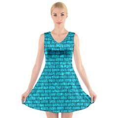 BRK1 BK-TQ MARBLE (R) V-Neck Sleeveless Skater Dress