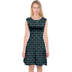 Brick1 Black Marble & Turquoise Marble Capsleeve Midi Dress
