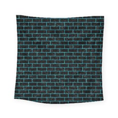 Brick1 Black Marble & Turquoise Marble Square Tapestry (small)