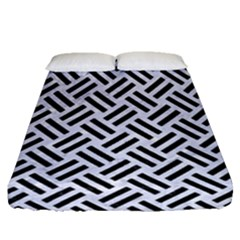 Woven2 Black Marble & White Marble (r) Fitted Sheet (queen Size)