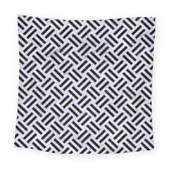 Woven2 Black Marble & White Marble (r) Square Tapestry (large)