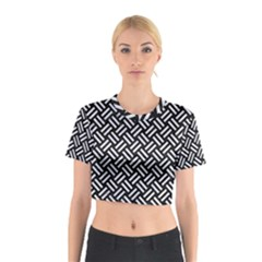 Woven2 Black Marble & White Marble Cotton Crop Top