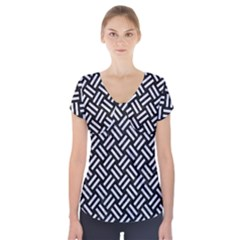 WOV2 BK-WH MARBLE Short Sleeve Front Detail Top