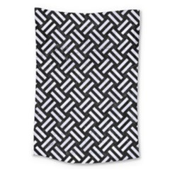 Woven2 Black Marble & White Marble Large Tapestry
