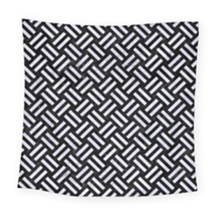 Woven2 Black Marble & White Marble Square Tapestry (large)