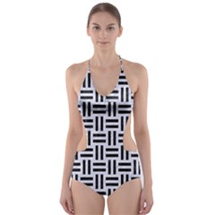 WOV1 BK-WH MARBLE (R) Cut-Out One Piece Swimsuit