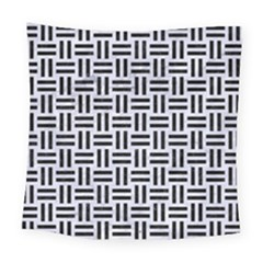 Woven1 Black Marble & White Marble (r) Square Tapestry (large)