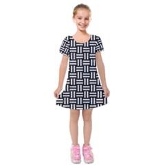 Woven1 Black Marble & White Marble Kids  Short Sleeve Velvet Dress