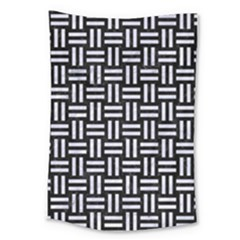 Woven1 Black Marble & White Marble Large Tapestry