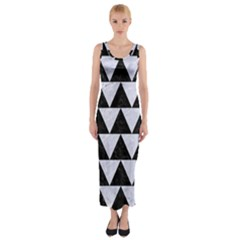 TRI2 BK-WH MARBLE Fitted Maxi Dress