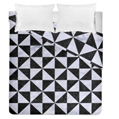 Triangle1 Black Marble & White Marble Duvet Cover Double Side (queen Size)