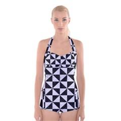 TRI1 BK-WH MARBLE Boyleg Halter Swimsuit