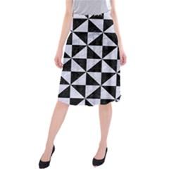 TRI1 BK-WH MARBLE Midi Beach Skirt
