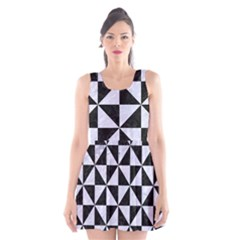 TRI1 BK-WH MARBLE Scoop Neck Skater Dress